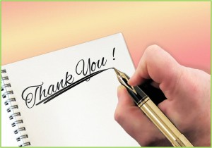 Thank you with green border